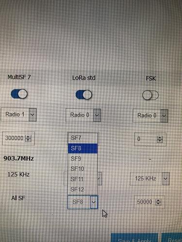 RAK7249 - Radio Config tab - Lora STD options