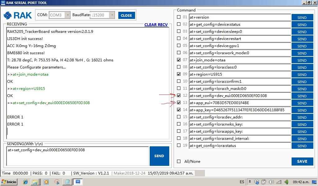 RAK5205 si not receiving the AT commands - RAK5205/7205 Node