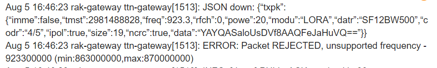 RAK2245 EU868 sends on 923 3MHz!? - LoRa/LoRaWAN